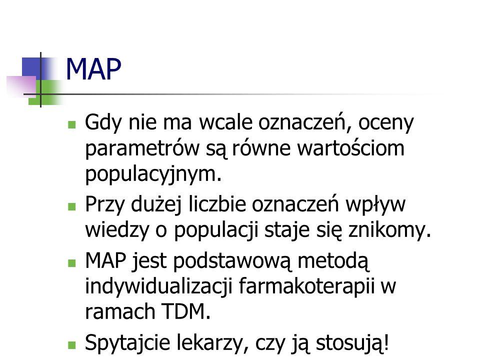 MAP Gdy nie ma wcale oznaczeń, oceny parametrów są równe wartościom populacyjnym. Przy dużej liczbie oznaczeń wpływ wiedzy o populacji staje się zniko