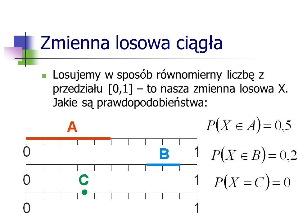Zmienna losowa ciągła Losujemy w sposób równomierny liczbę z przedziału [0,1] – to nasza zmienna losowa X. Jakie są prawdopodobieństwa: