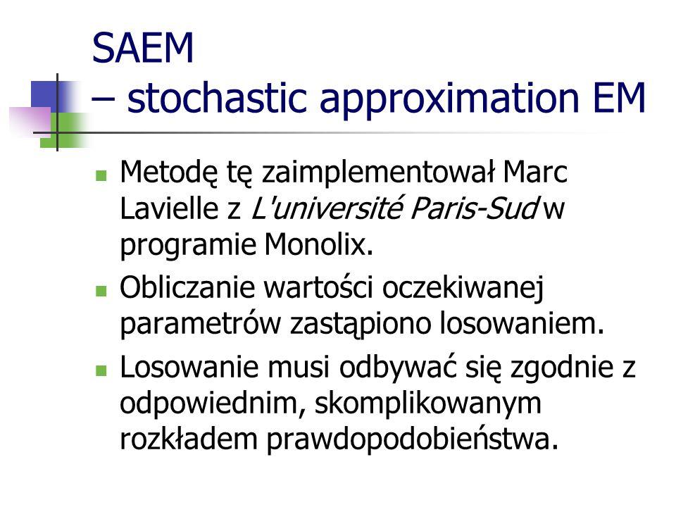SAEM – stochastic approximation EM Metodę tę zaimplementował Marc Lavielle z L'université Paris-Sud w programie Monolix. Obliczanie wartości oczekiwan