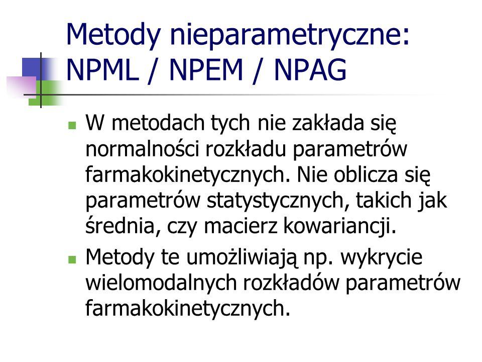 Metody nieparametryczne: NPML / NPEM / NPAG W metodach tych nie zakłada się normalności rozkładu parametrów farmakokinetycznych. Nie oblicza się param