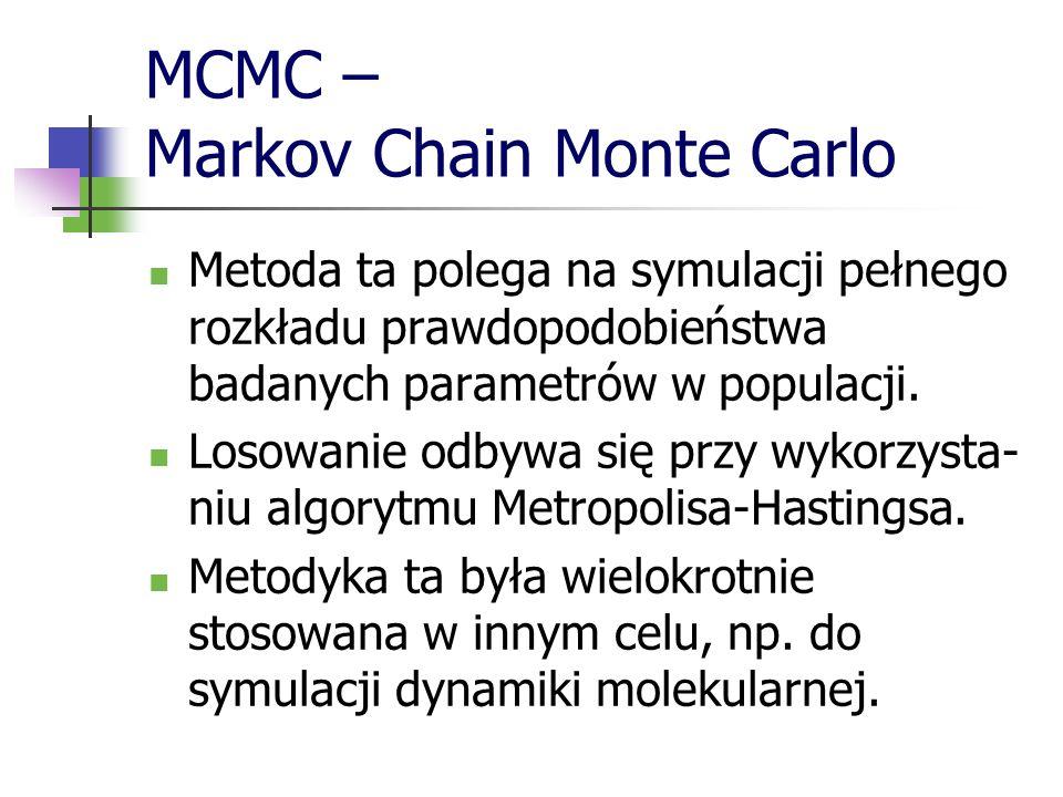 MCMC – Markov Chain Monte Carlo Metoda ta polega na symulacji pełnego rozkładu prawdopodobieństwa badanych parametrów w populacji. Losowanie odbywa si