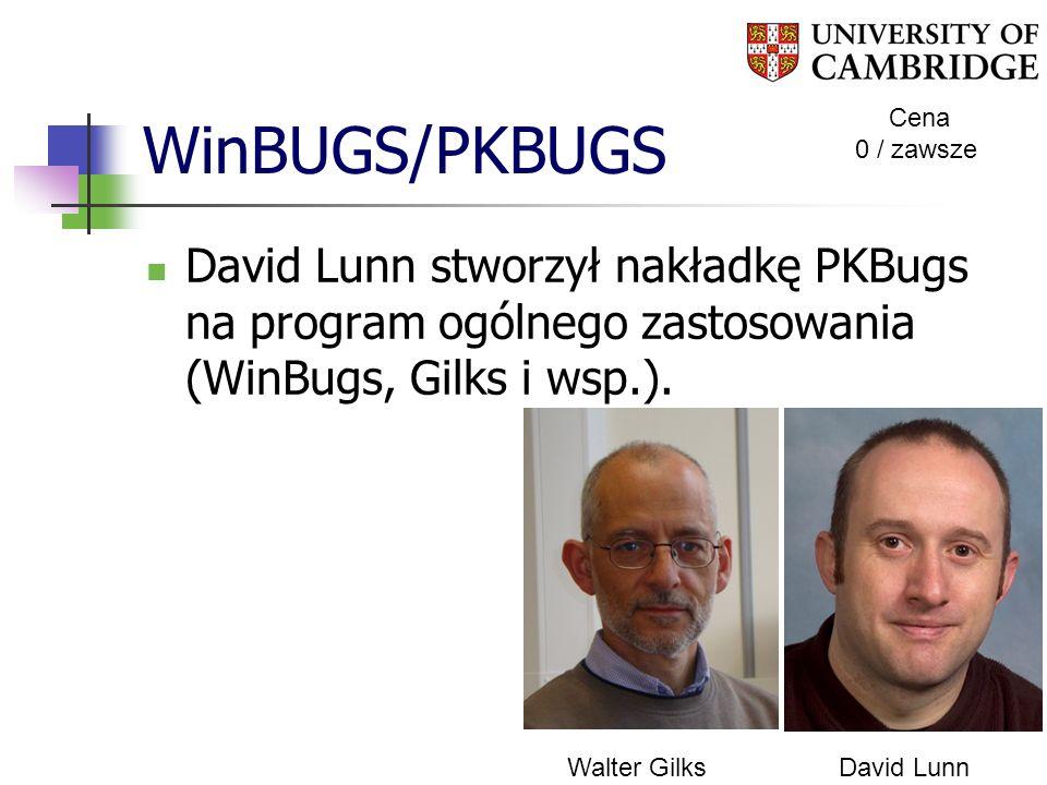 WinBUGS/PKBUGS Cena 0 / zawsze David Lunn stworzył nakładkę PKBugs na program ogólnego zastosowania (WinBugs, Gilks i wsp.). Walter GilksDavid Lunn