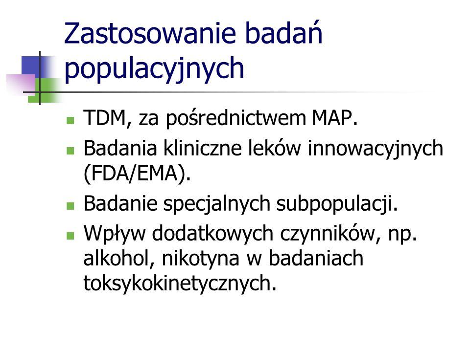 Zastosowanie badań populacyjnych TDM, za pośrednictwem MAP. Badania kliniczne leków innowacyjnych (FDA/EMA). Badanie specjalnych subpopulacji. Wpływ d