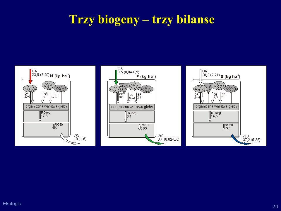 20 Ekologia Trzy biogeny – trzy bilanse