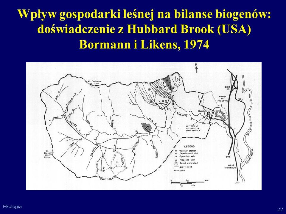 22 Ekologia Wpływ gospodarki leśnej na bilanse biogenów: doświadczenie z Hubbard Brook (USA) Bormann i Likens, 1974