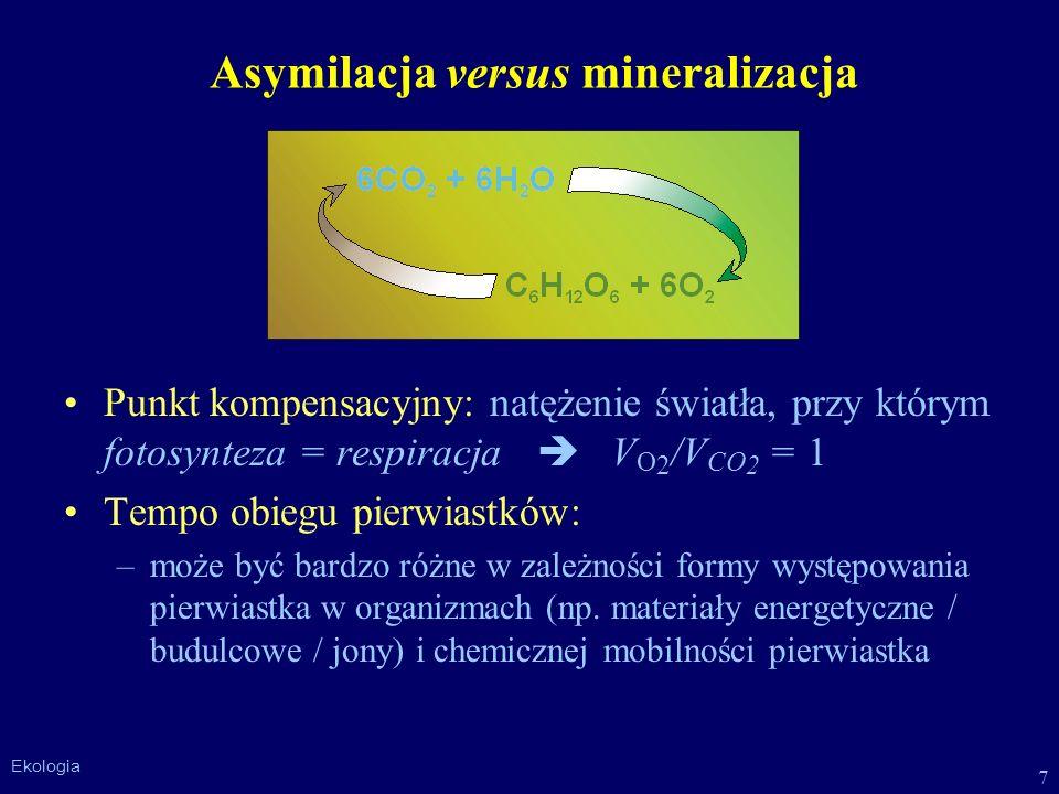 7 Ekologia Asymilacja versus mineralizacja Punkt kompensacyjny: natężenie światła, przy którym fotosynteza = respiracja V O 2 /V CO 2 = 1 Tempo obiegu