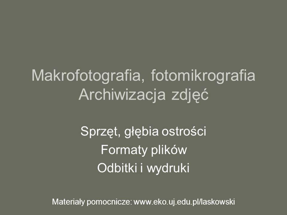 Makrofotografia, fotomikrografia Archiwizacja zdjęć Sprzęt, głębia ostrości Formaty plików Odbitki i wydruki Materiały pomocnicze: www.eko.uj.edu.pl/l
