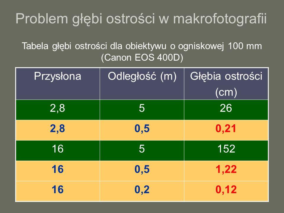 Problem głębi ostrości w makrofotografii PrzysłonaOdległość (m)Głębia ostrości (cm) 2,8526 2,80,50,21 165152 160,51,22 160,20,12 Tabela głębi ostrości