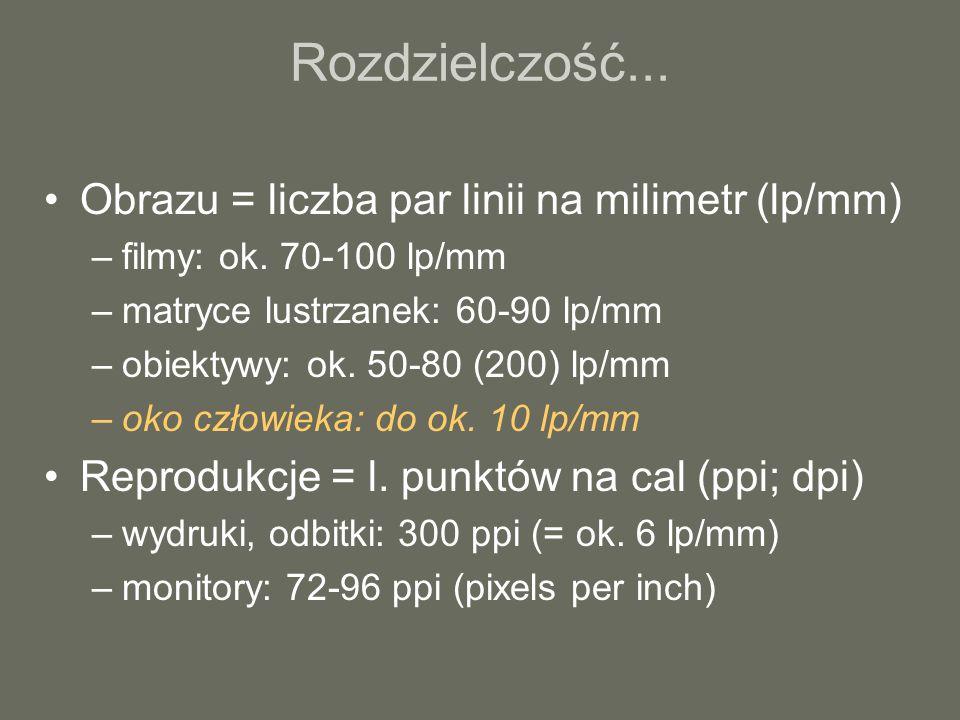 Rozdzielczość... Obrazu = liczba par linii na milimetr (lp/mm) –filmy: ok. 70-100 lp/mm –matryce lustrzanek: 60-90 lp/mm –obiektywy: ok. 50-80 (200) l