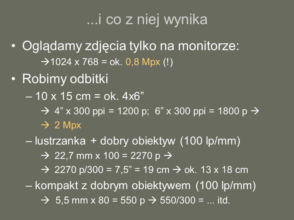 ...i co z niej wynika Oglądamy zdjęcia tylko na monitorze: 1024 x 768 = ok. 0,8 Mpx (!) Robimy odbitki –10 x 15 cm = ok. 4x6 4 x 300 ppi = 1200 p; 6 x