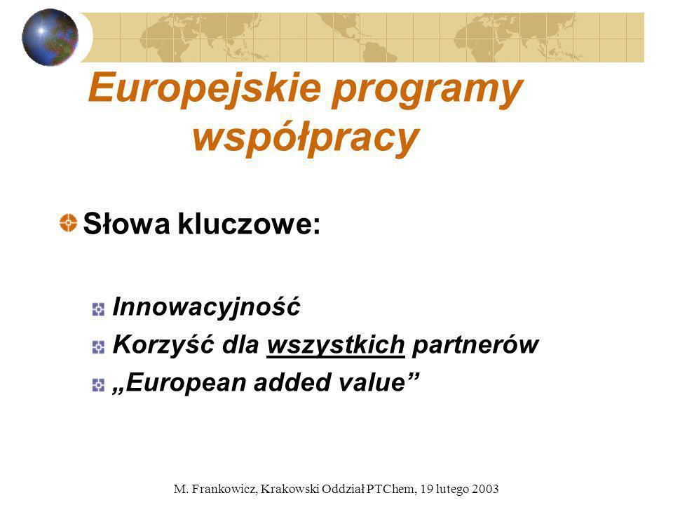 M. Frankowicz, Krakowski Oddział PTChem, 19 lutego 2003 Europejskie programy współpracy Słowa kluczowe: Innowacyjność Korzyść dla wszystkich partnerów