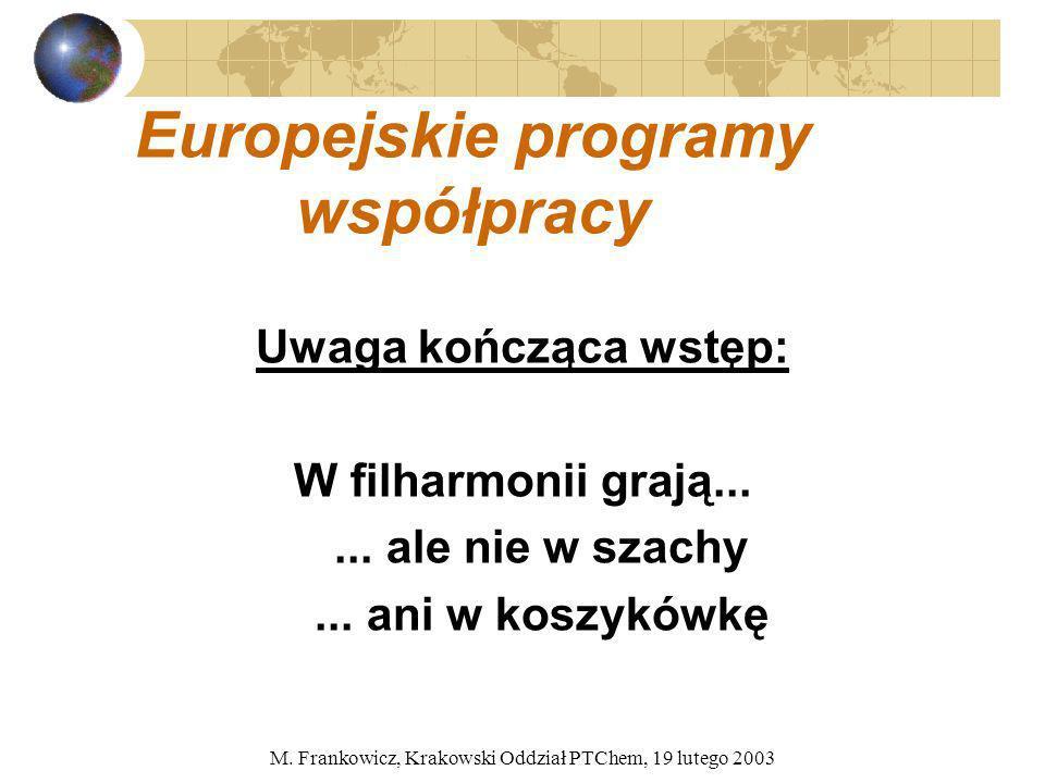 M. Frankowicz, Krakowski Oddział PTChem, 19 lutego 2003 Europejskie programy współpracy Uwaga kończąca wstęp: W filharmonii grają...... ale nie w szac