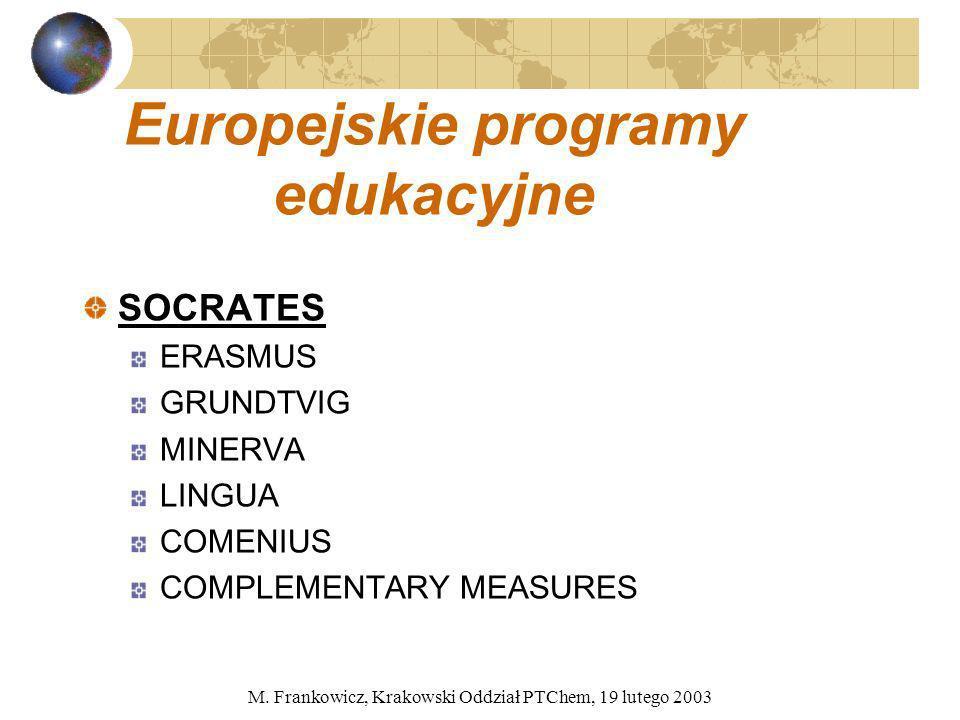 M. Frankowicz, Krakowski Oddział PTChem, 19 lutego 2003 Europejskie programy edukacyjne SOCRATES ERASMUS GRUNDTVIG MINERVA LINGUA COMENIUS COMPLEMENTA
