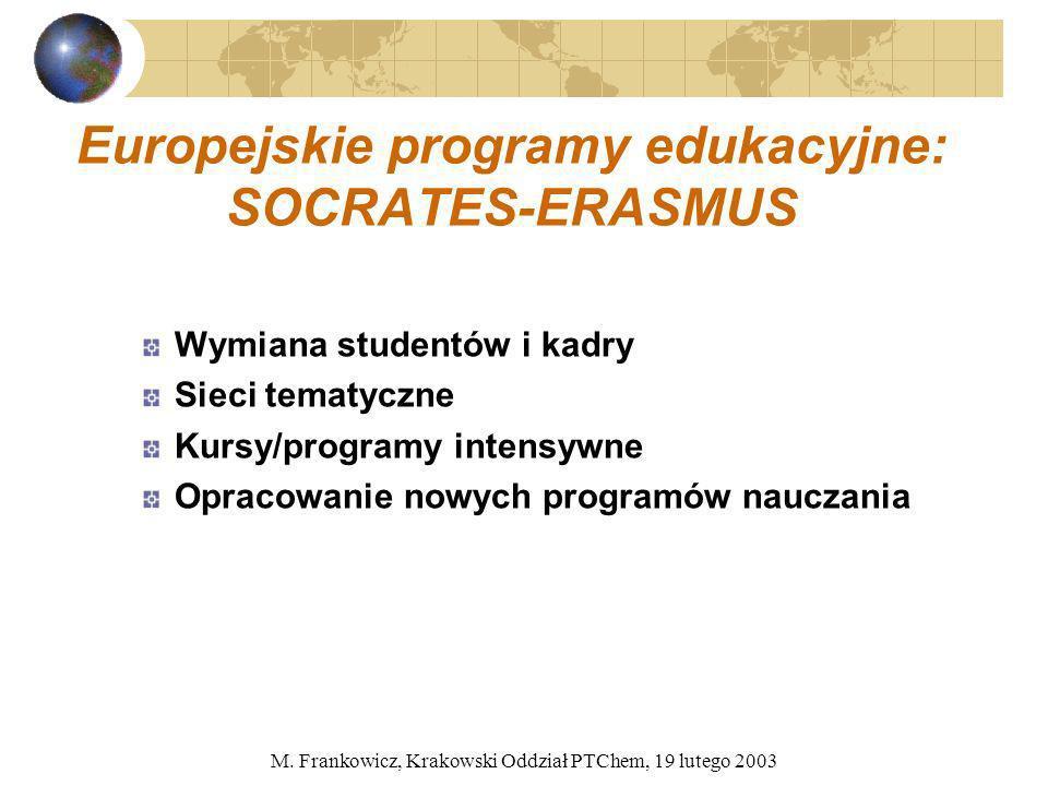 M. Frankowicz, Krakowski Oddział PTChem, 19 lutego 2003 Europejskie programy edukacyjne: SOCRATES-ERASMUS Wymiana studentów i kadry Sieci tematyczne K