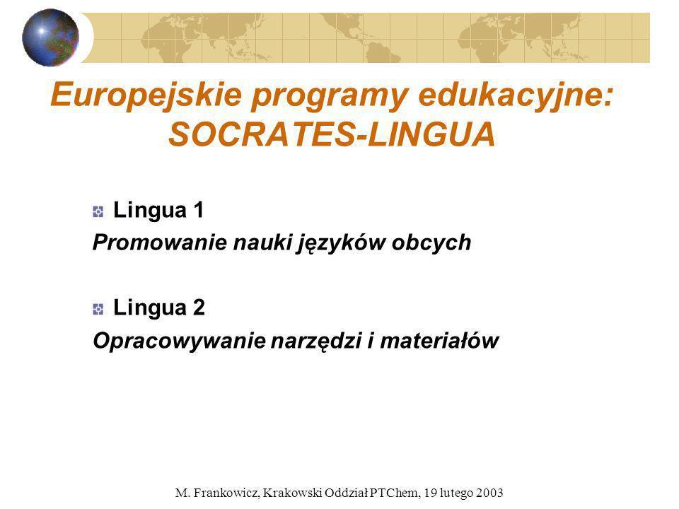M. Frankowicz, Krakowski Oddział PTChem, 19 lutego 2003 Europejskie programy edukacyjne: SOCRATES-LINGUA Lingua 1 Promowanie nauki języków obcych Ling