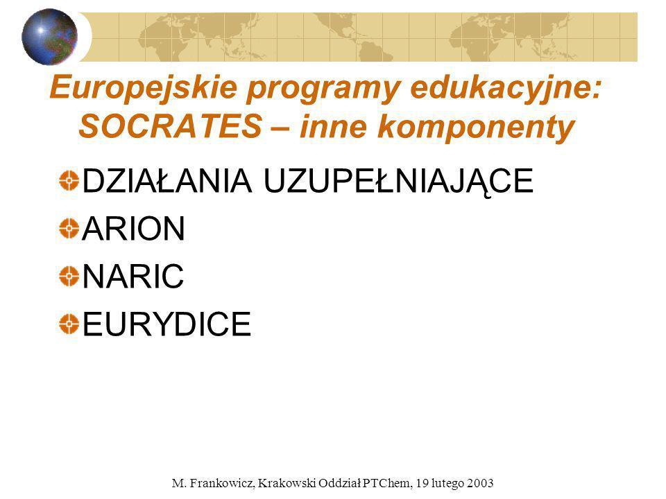 M. Frankowicz, Krakowski Oddział PTChem, 19 lutego 2003 Europejskie programy edukacyjne: SOCRATES – inne komponenty DZIAŁANIA UZUPEŁNIAJĄCE ARION NARI