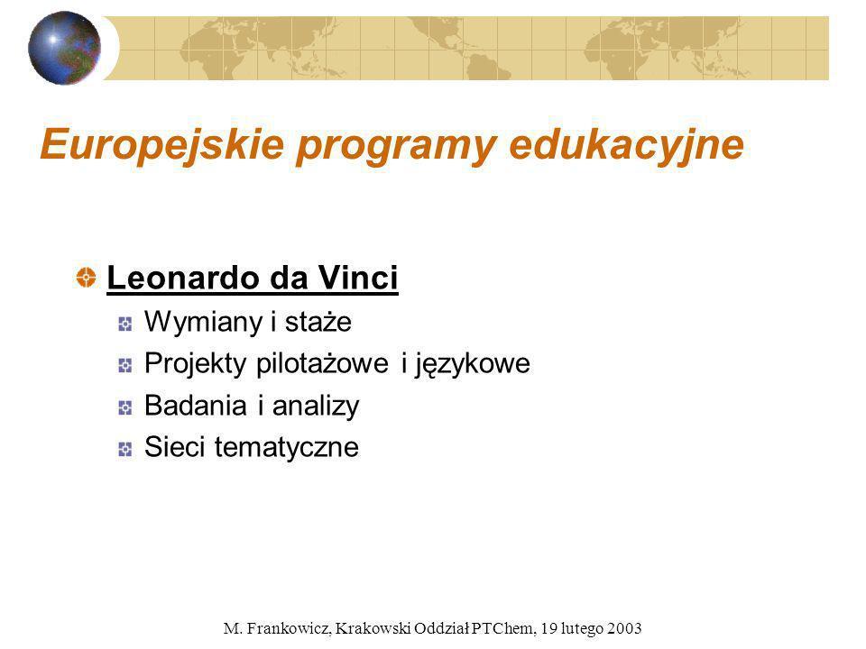 M. Frankowicz, Krakowski Oddział PTChem, 19 lutego 2003 Europejskie programy edukacyjne Leonardo da Vinci Wymiany i staże Projekty pilotażowe i języko
