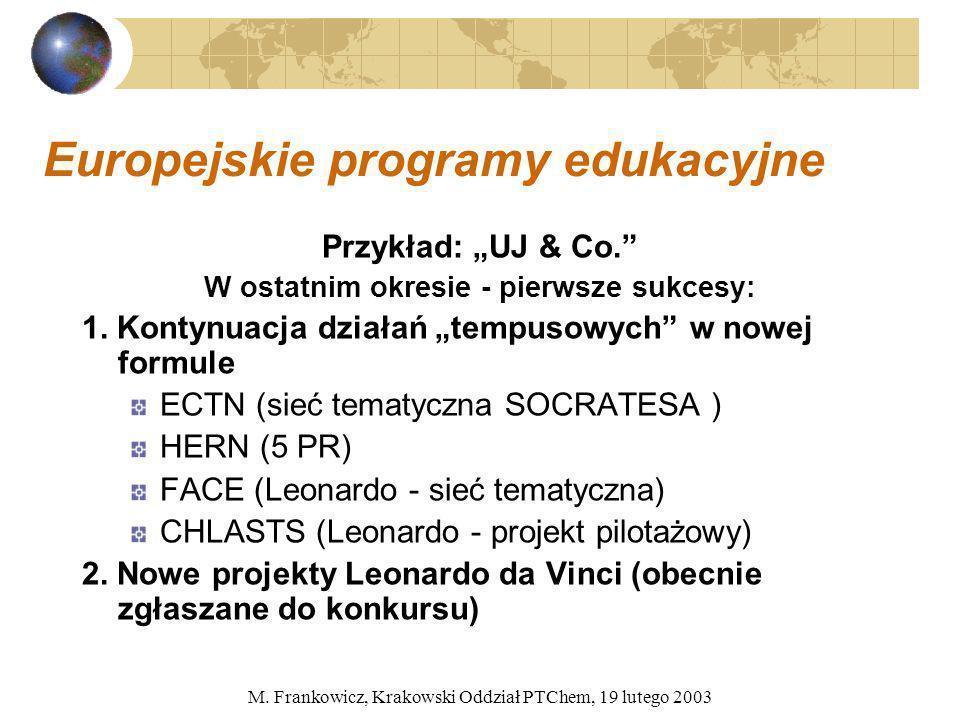 M. Frankowicz, Krakowski Oddział PTChem, 19 lutego 2003 Europejskie programy edukacyjne Przykład: UJ & Co. W ostatnim okresie - pierwsze sukcesy: 1. K
