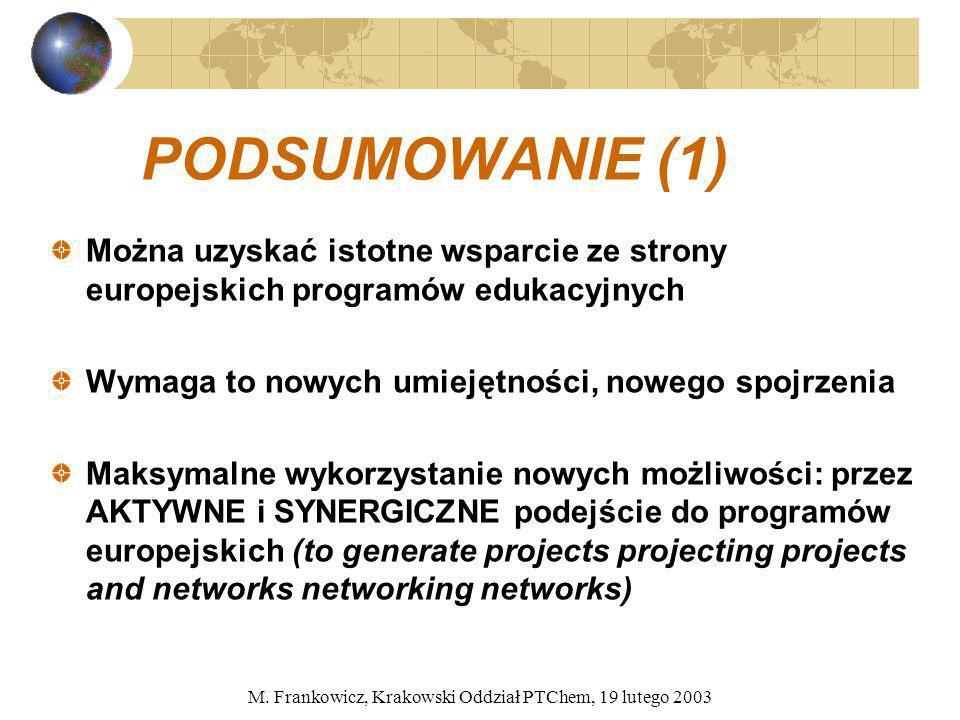 M. Frankowicz, Krakowski Oddział PTChem, 19 lutego 2003 PODSUMOWANIE (1) Można uzyskać istotne wsparcie ze strony europejskich programów edukacyjnych