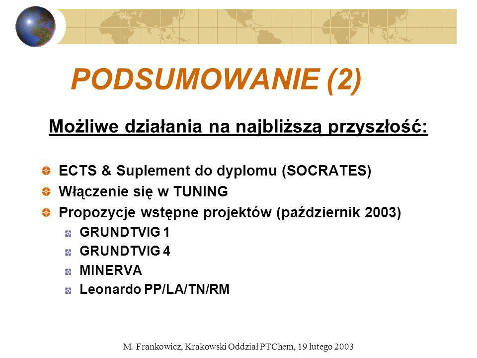 M. Frankowicz, Krakowski Oddział PTChem, 19 lutego 2003 PODSUMOWANIE (2) Możliwe działania na najbliższą przyszłość: ECTS & Suplement do dyplomu (SOCR