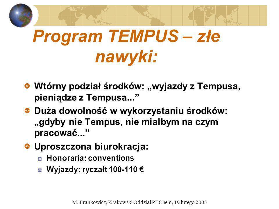 M. Frankowicz, Krakowski Oddział PTChem, 19 lutego 2003 Program TEMPUS – złe nawyki: Wtórny podział środków: wyjazdy z Tempusa, pieniądze z Tempusa...