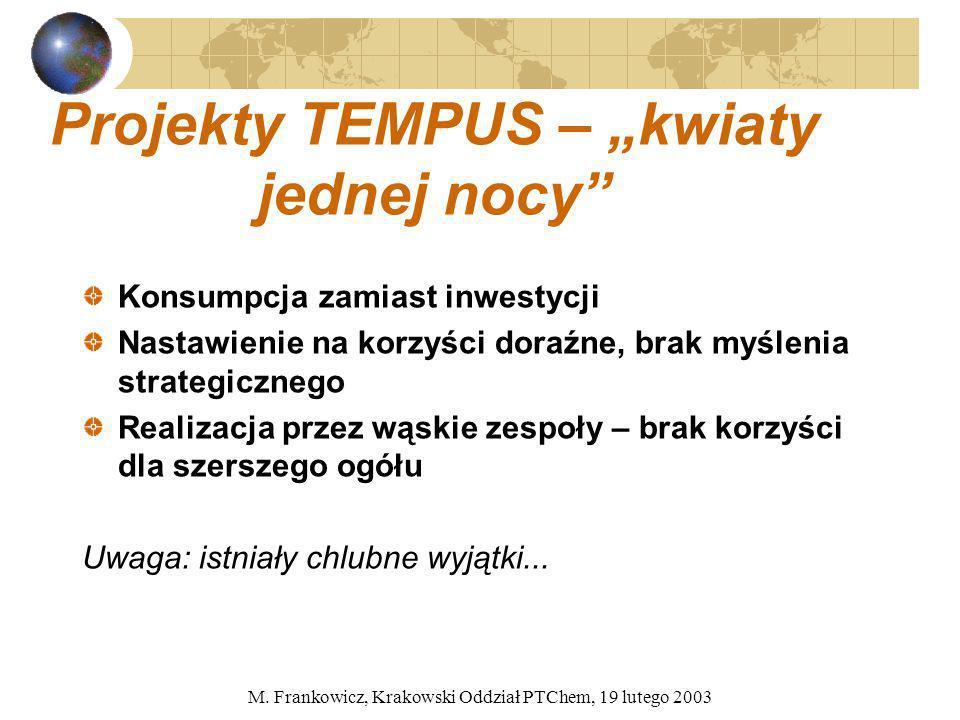 M. Frankowicz, Krakowski Oddział PTChem, 19 lutego 2003 Projekty TEMPUS – kwiaty jednej nocy Konsumpcja zamiast inwestycji Nastawienie na korzyści dor