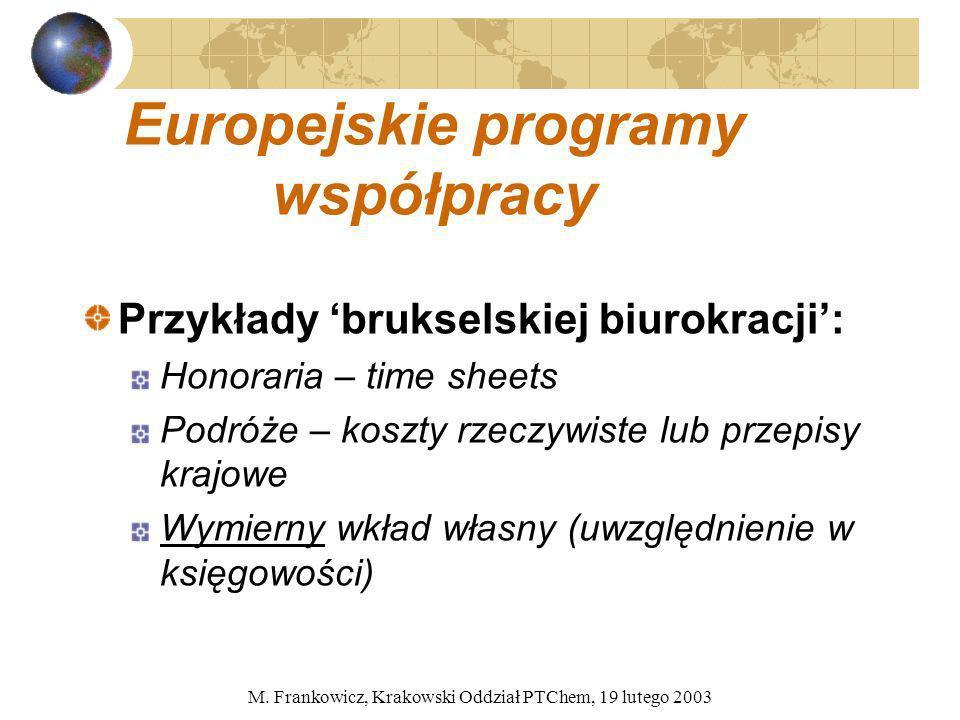 M. Frankowicz, Krakowski Oddział PTChem, 19 lutego 2003 Europejskie programy współpracy Przykłady brukselskiej biurokracji: Honoraria – time sheets Po