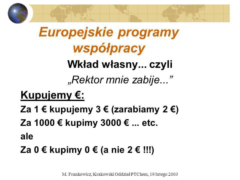 M. Frankowicz, Krakowski Oddział PTChem, 19 lutego 2003 Europejskie programy współpracy Wkład własny... czyli Rektor mnie zabije... Kupujemy : Za 1 ku