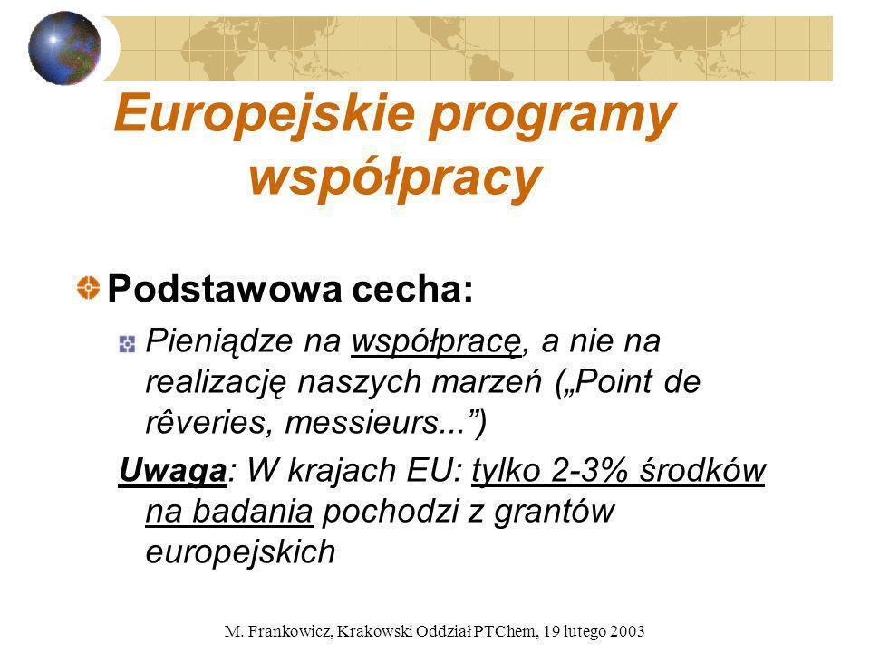 M. Frankowicz, Krakowski Oddział PTChem, 19 lutego 2003 Europejskie programy współpracy Podstawowa cecha: Pieniądze na współpracę, a nie na realizację