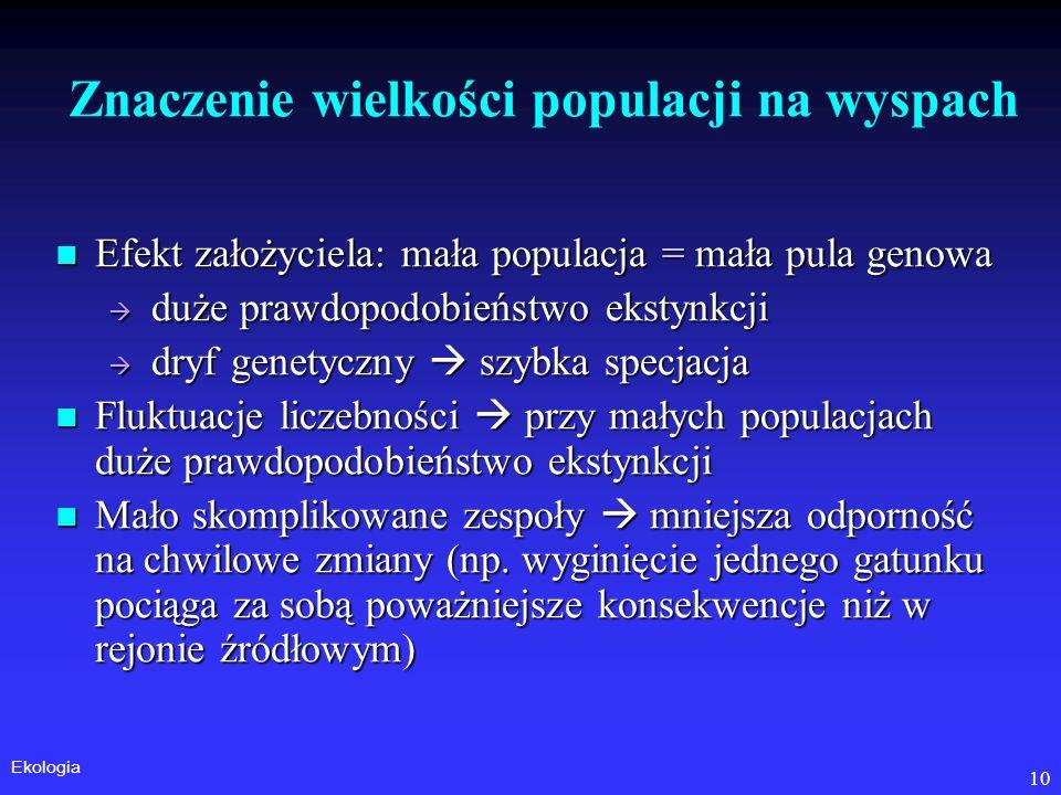 Ekologia 10 Znaczenie wielkości populacji na wyspach Efekt założyciela: mała populacja = mała pula genowa Efekt założyciela: mała populacja = mała pul