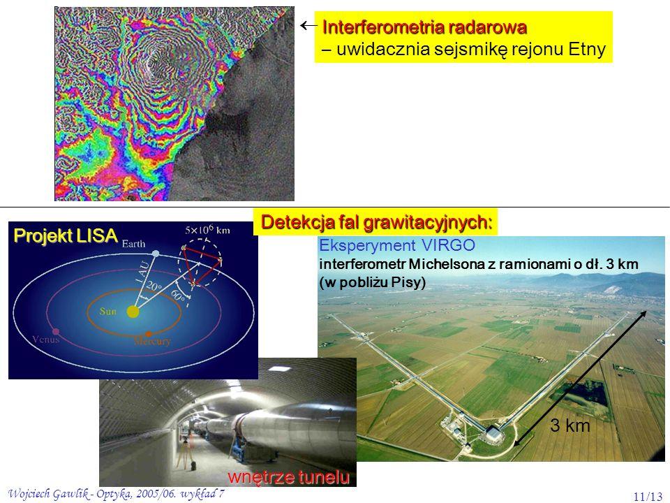 Wojciech Gawlik - Optyka, 2005/06. wykład 7 11/13 Interferometria radarowa – uwidacznia sejsmikę rejonu Etny Eksperyment VIRGO interferometr Michelson