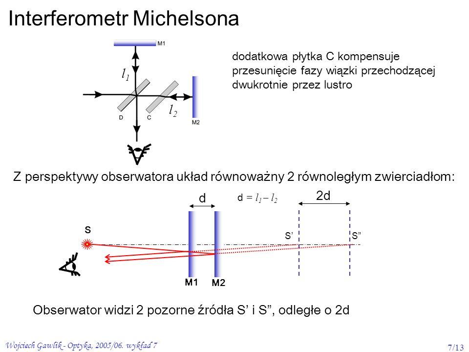 Wojciech Gawlik - Optyka, 2005/06. wykład 7 7/13 Interferometr Michelsona dodatkowa płytka C kompensuje przesunięcie fazy wiązki przechodzącej dwukrot