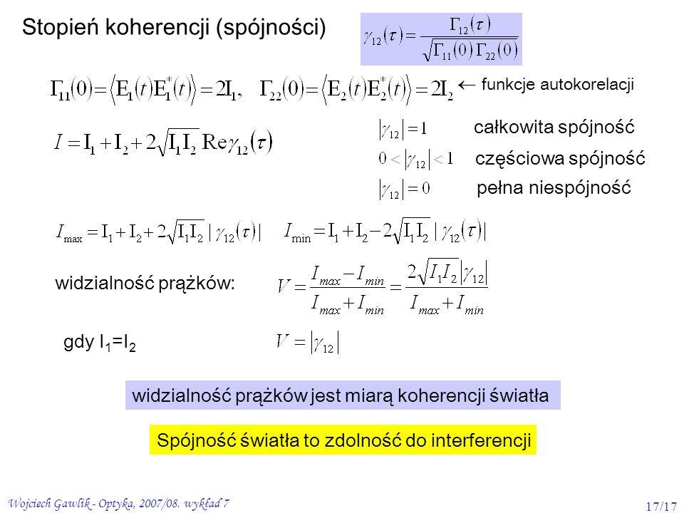Wojciech Gawlik - Optyka, 2007/08. wykład 7 17/17 Stopień koherencji (spójności) funkcje autokorelacji całkowita spójność częściowa spójność pełna nie