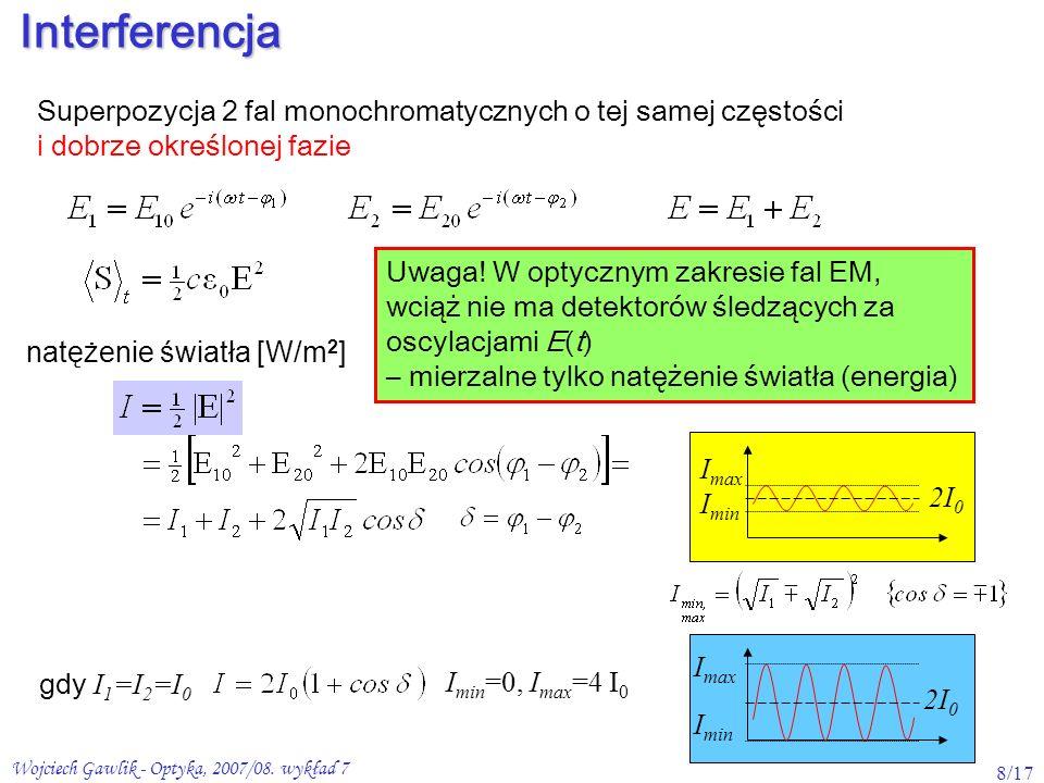Wojciech Gawlik - Optyka, 2007/08. wykład 7 8/17Interferencja Superpozycja 2 fal monochromatycznych o tej samej częstości i dobrze określonej fazie na