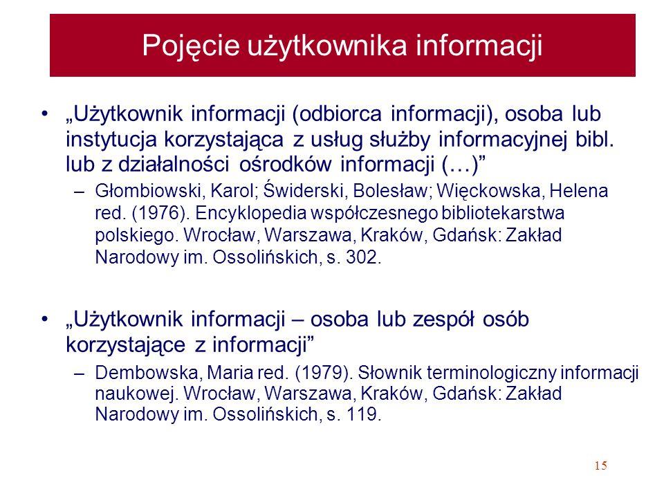 15 Pojęcie użytkownika informacji Użytkownik informacji (odbiorca informacji), osoba lub instytucja korzystająca z usług służby informacyjnej bibl. lu