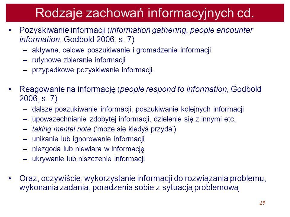 25 Rodzaje zachowań informacyjnych cd. Pozyskiwanie informacji (information gathering, people encounter information, Godbold 2006, s. 7) –aktywne, cel