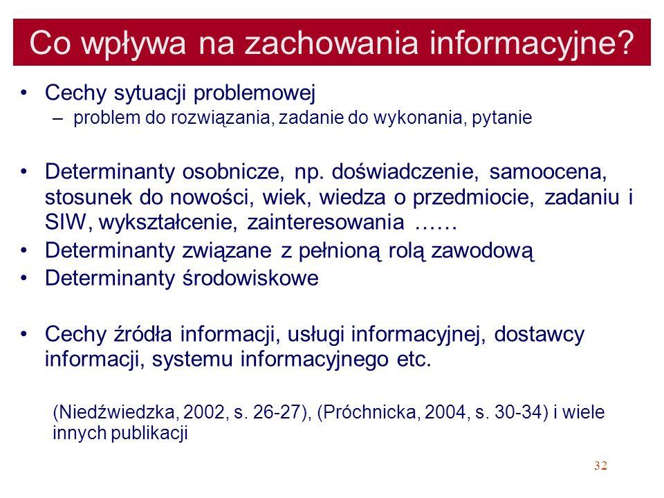 32 Co wpływa na zachowania informacyjne? Cechy sytuacji problemowej –problem do rozwiązania, zadanie do wykonania, pytanie Determinanty osobnicze, np.