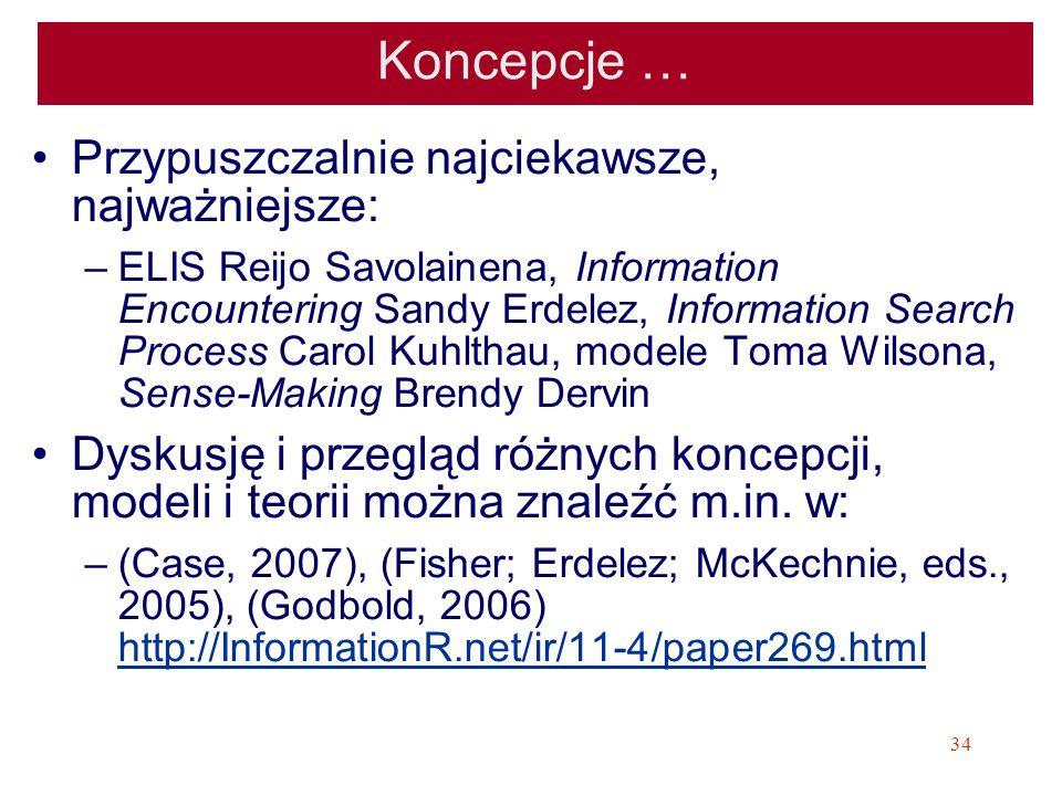 34 Koncepcje … Przypuszczalnie najciekawsze, najważniejsze: –ELIS Reijo Savolainena, Information Encountering Sandy Erdelez, Information Search Proces