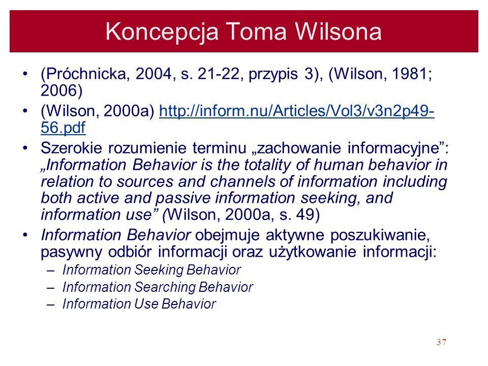 37 Koncepcja Toma Wilsona (Próchnicka, 2004, s. 21-22, przypis 3), (Wilson, 1981; 2006) (Wilson, 2000a) http://inform.nu/Articles/Vol3/v3n2p49- 56.pdf