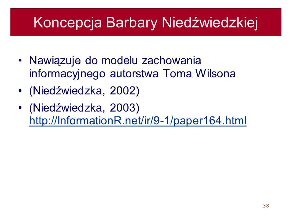 38 Koncepcja Barbary Niedźwiedzkiej Nawiązuje do modelu zachowania informacyjnego autorstwa Toma Wilsona (Niedźwiedzka, 2002) (Niedźwiedzka, 2003) htt