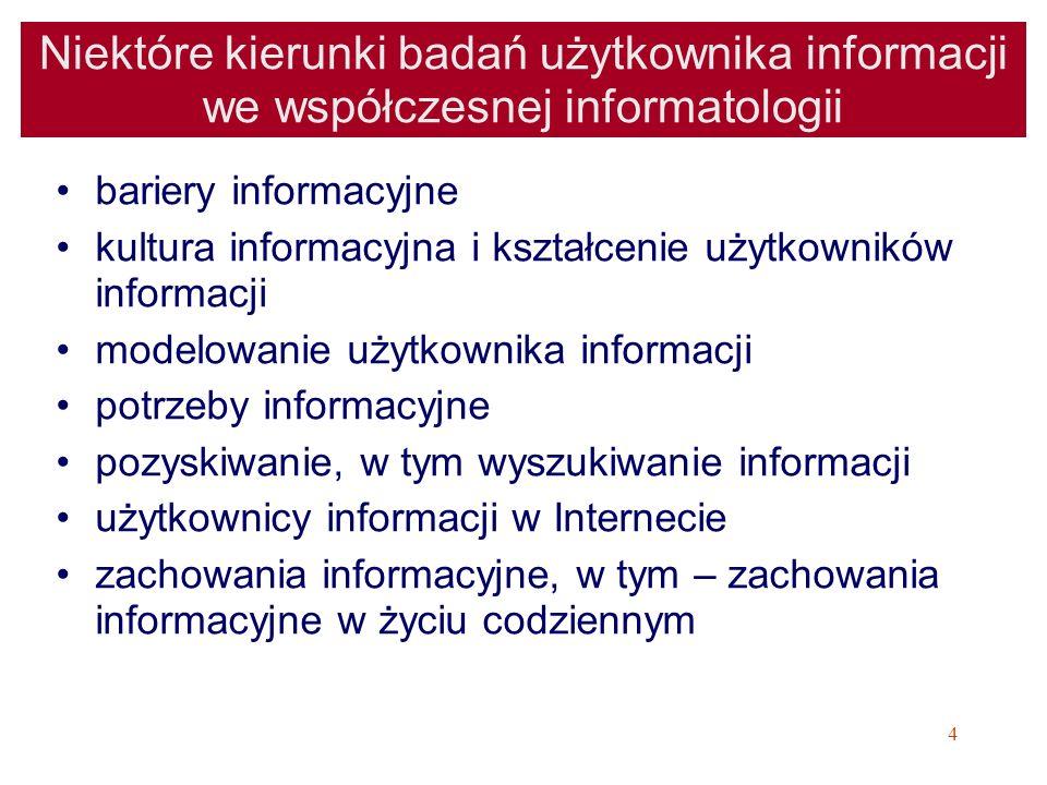 15 Pojęcie użytkownika informacji Użytkownik informacji (odbiorca informacji), osoba lub instytucja korzystająca z usług służby informacyjnej bibl.