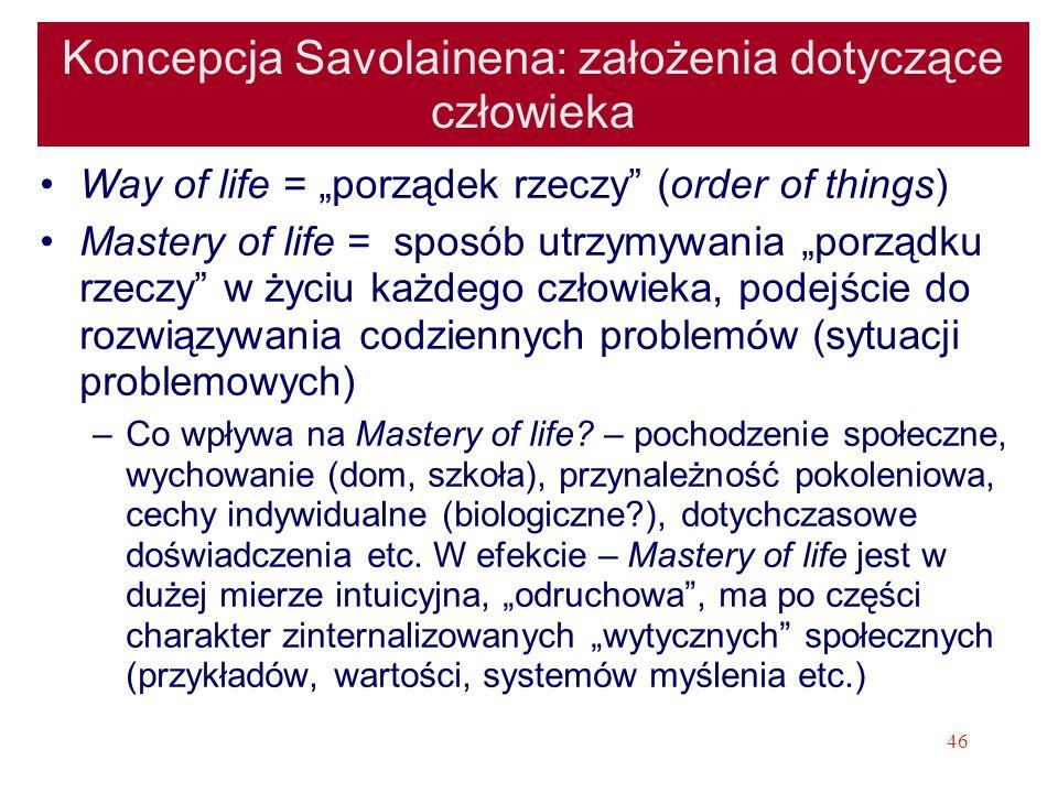 46 Koncepcja Savolainena: założenia dotyczące człowieka Way of life = porządek rzeczy (order of things) Mastery of life = sposób utrzymywania porządku