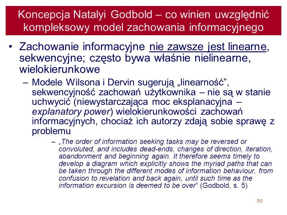 50 Koncepcja Natalyi Godbold – co winien uwzględnić kompleksowy model zachowania informacyjnego Zachowanie informacyjne nie zawsze jest linearne, sekw