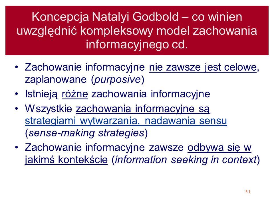 51 Koncepcja Natalyi Godbold – co winien uwzględnić kompleksowy model zachowania informacyjnego cd. Zachowanie informacyjne nie zawsze jest celowe, za