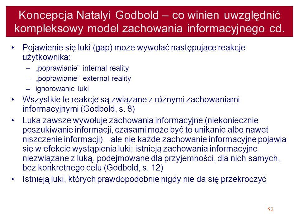 52 Koncepcja Natalyi Godbold – co winien uwzględnić kompleksowy model zachowania informacyjnego cd. Pojawienie się luki (gap) może wywołać następujące