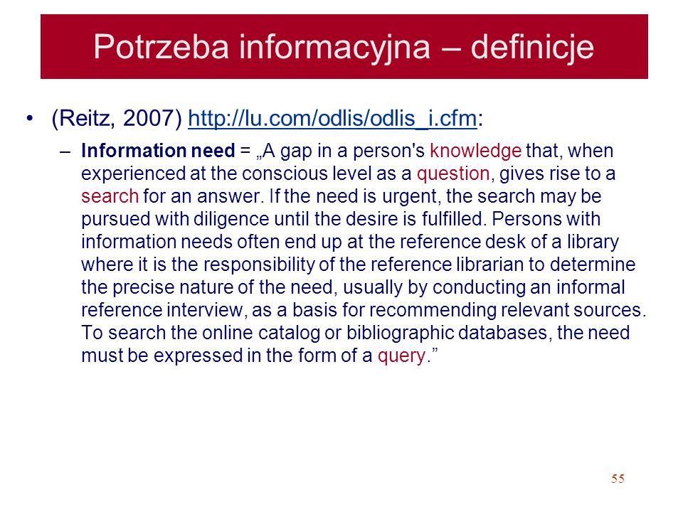 55 Potrzeba informacyjna – definicje (Reitz, 2007) http://lu.com/odlis/odlis_i.cfm:http://lu.com/odlis/odlis_i.cfm –Information need = A gap in a pers