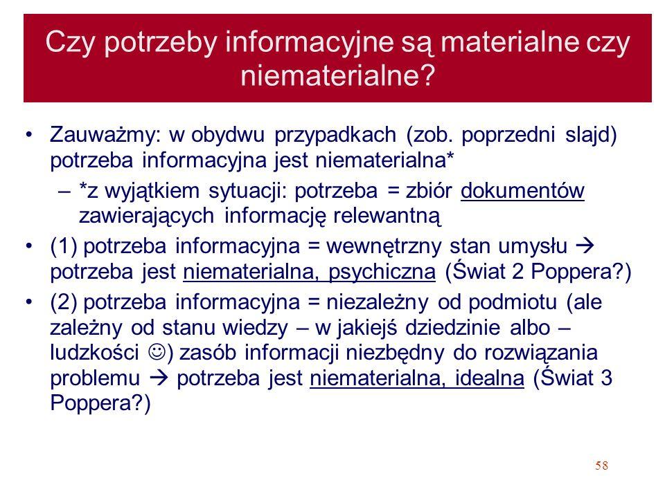 58 Czy potrzeby informacyjne są materialne czy niematerialne? Zauważmy: w obydwu przypadkach (zob. poprzedni slajd) potrzeba informacyjna jest niemate