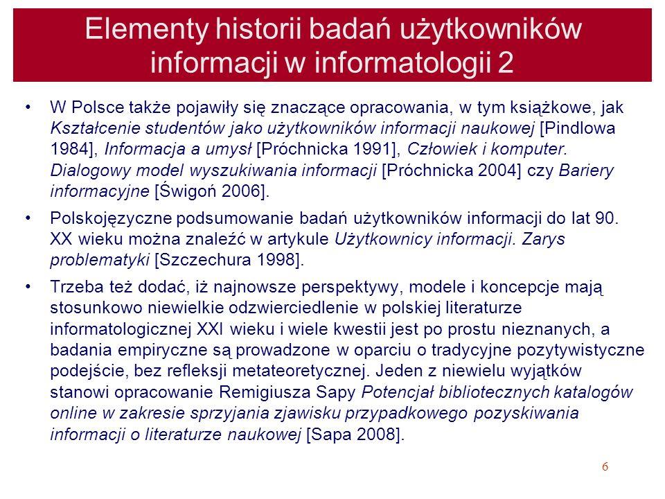 27 Pozyskiwanie, wyszukiwanie informacji jako rodzaj zachowania informacyjnego Information Encountering = przypadkowe napotykanie informacji Information Retrieval = wyszukiwanie informacji w SIW Information Searching = wyszukiwanie informacji (dotyczy wyszukiwania w konkretnych zasobach, jest działaniem celowym, ukierunkowanym na odnalezienie potrzebnych informacji) Information Seeking = poszukiwanie informacji (pojęcie szersze od information searching) –(Erdelez, 1999), (Erdelez, 2005), (Materska, 2007, s.