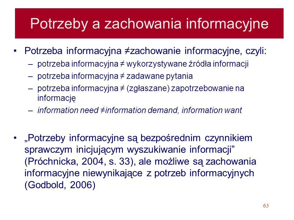 63 Potrzeby a zachowania informacyjne Potrzeba informacyjna zachowanie informacyjne, czyli: –potrzeba informacyjna wykorzystywane źródła informacji –p