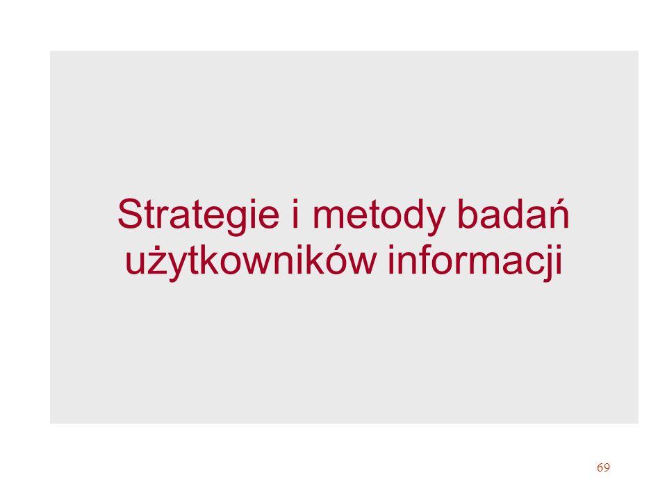 69 Strategie i metody badań użytkowników informacji